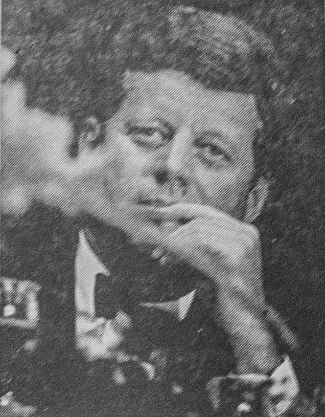 President John F. Kennedy '40 photographed in Boston by The Crimson on Saturday, October 19, 1963, just a month before he was assassinated. The photograph ran on page two of the Saturday, November 23, 1963, issue of The Crimson.