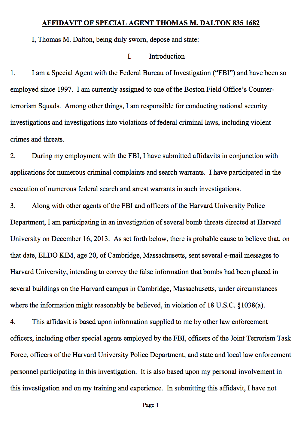 "The affidavit submitted by FBI Special Agent Thomas M. Dalton requesting ""that the Court issue a complaint charging ELDO KIM."""