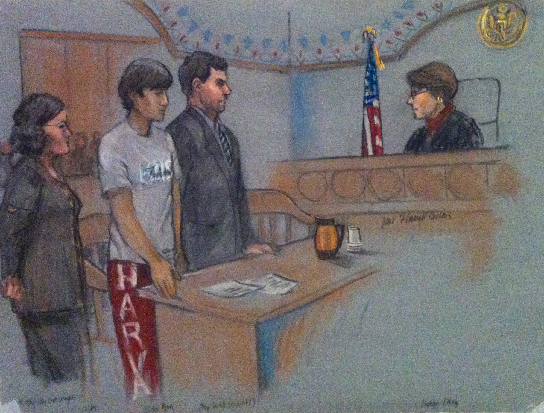 A courtroom sketch by freelance artist Jane F. Collins depicts, from left to right, private defense attorney Allison D. Burroughs, supect Eldo Kim '16, public defender Ian Gold, and U.S. Magistrate Judge Judith G. Dein during Kim's pretrial hearing Wednesday afternoon in U.S. District Court in Boston.
