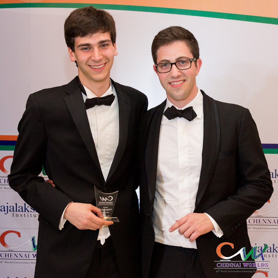 Ben D. Sprung-Keyser '15, left, and Joshua P. Zoffer '14, right, won the 34th World Universities Debating Championship in Chennai, India in early January.