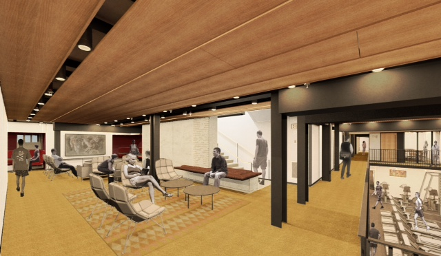 After renewal is complete, Dunster House will include a new lounge space on its lower level, which will overlook a new fitness room, shown here in an artist's rendering.