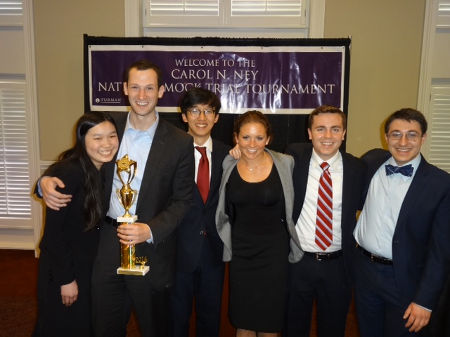 Members of the Harvard Mock Trial team pose with their award from the 2014 Carol N. Ney National Mock Trial Tournament.