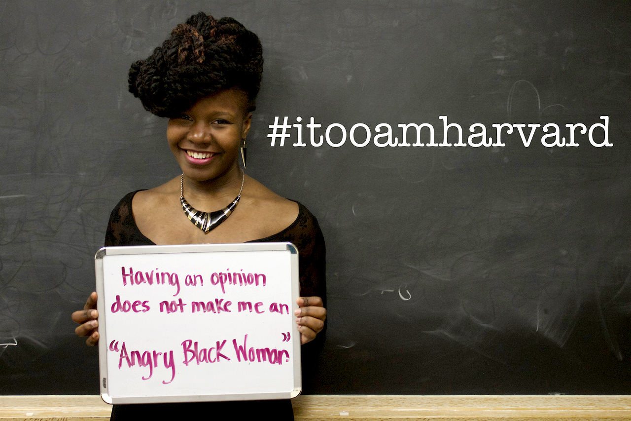 "A photo from the ""I, Too, Am Harvard"" campaign. Inspired by an original play also titled ""I, Too, Am Harvard,"" the Tumblr campaign highlighted various microaggressions members of the black community have faced at Harvard."