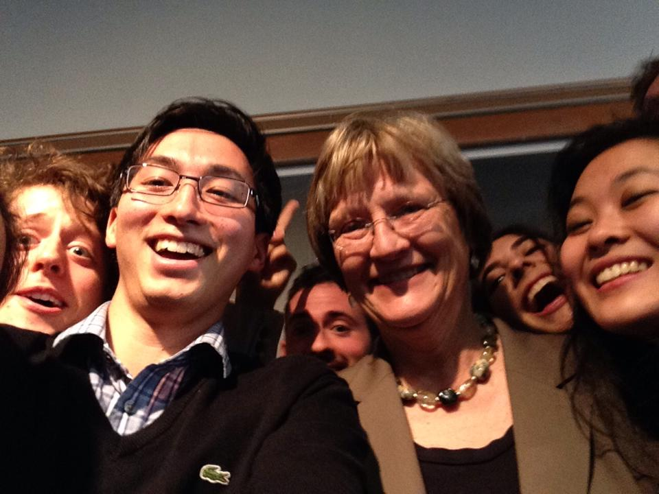 """UC Open Forum with President Faust!! But first, let's take a selfie."""