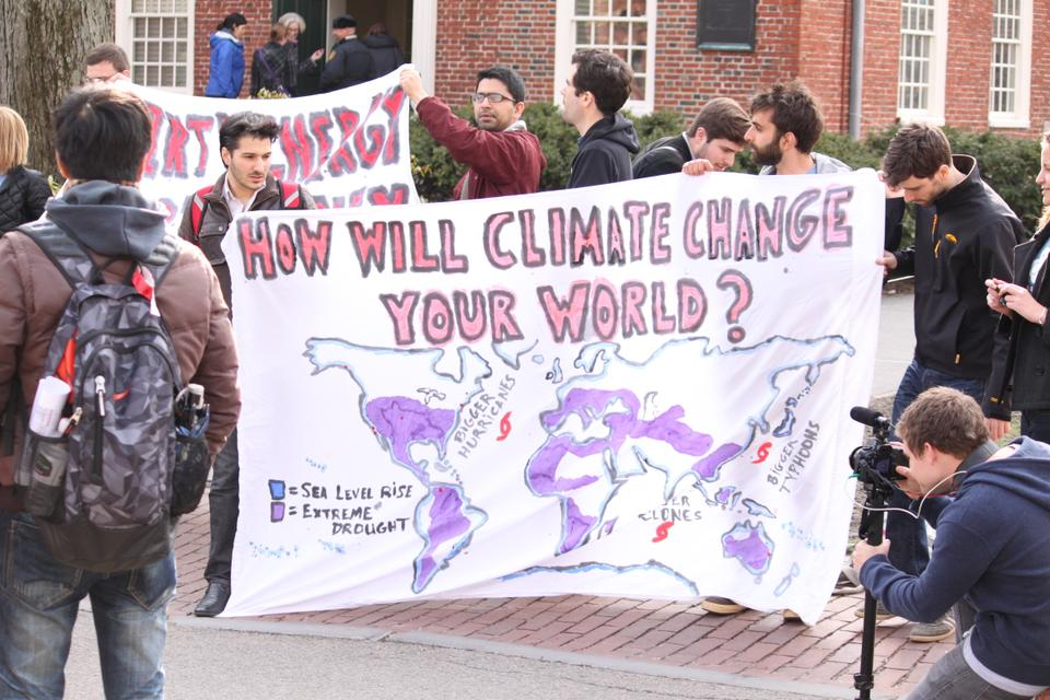 Students assemble outside Massachusetts Hall during the Harvard Divest Rally on April 11, 2013.