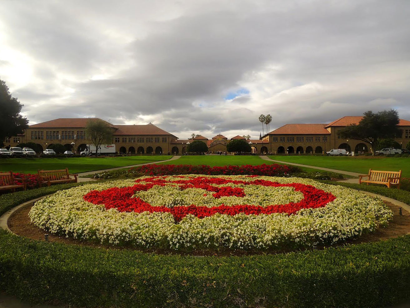 The Oval, a floral garden that features the cardinal S logo of Stanford University.