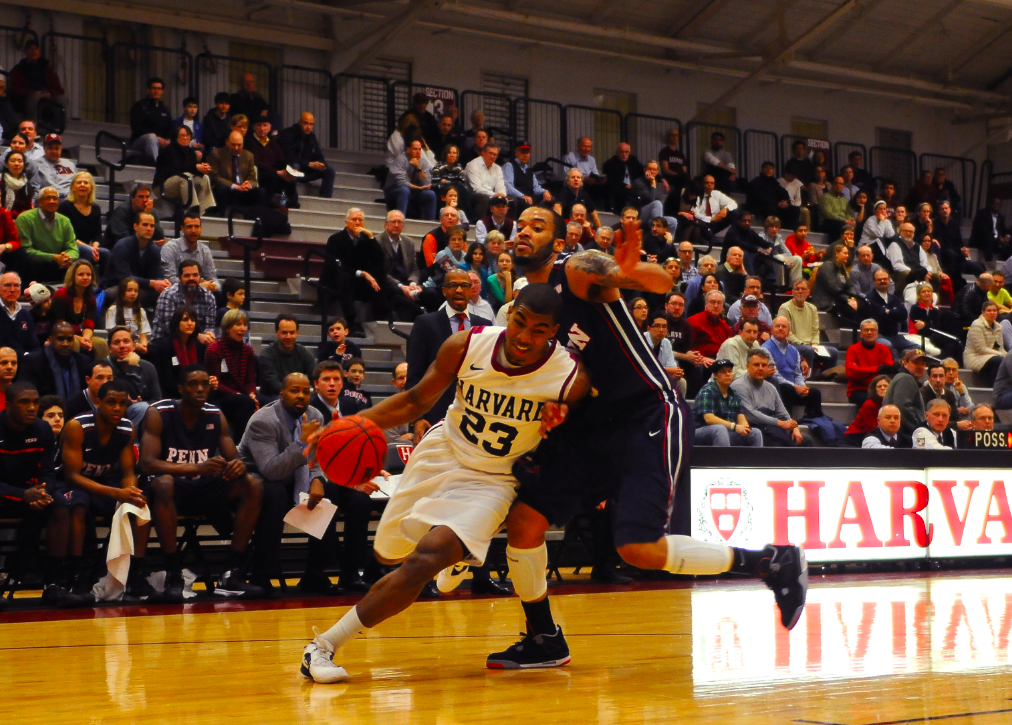 Senior wing Wesley Saunders, shown here in previous action, led Harvard's efforts against Arizona State in the first half, totaling 13 points prior to intermission. He finished with 15.