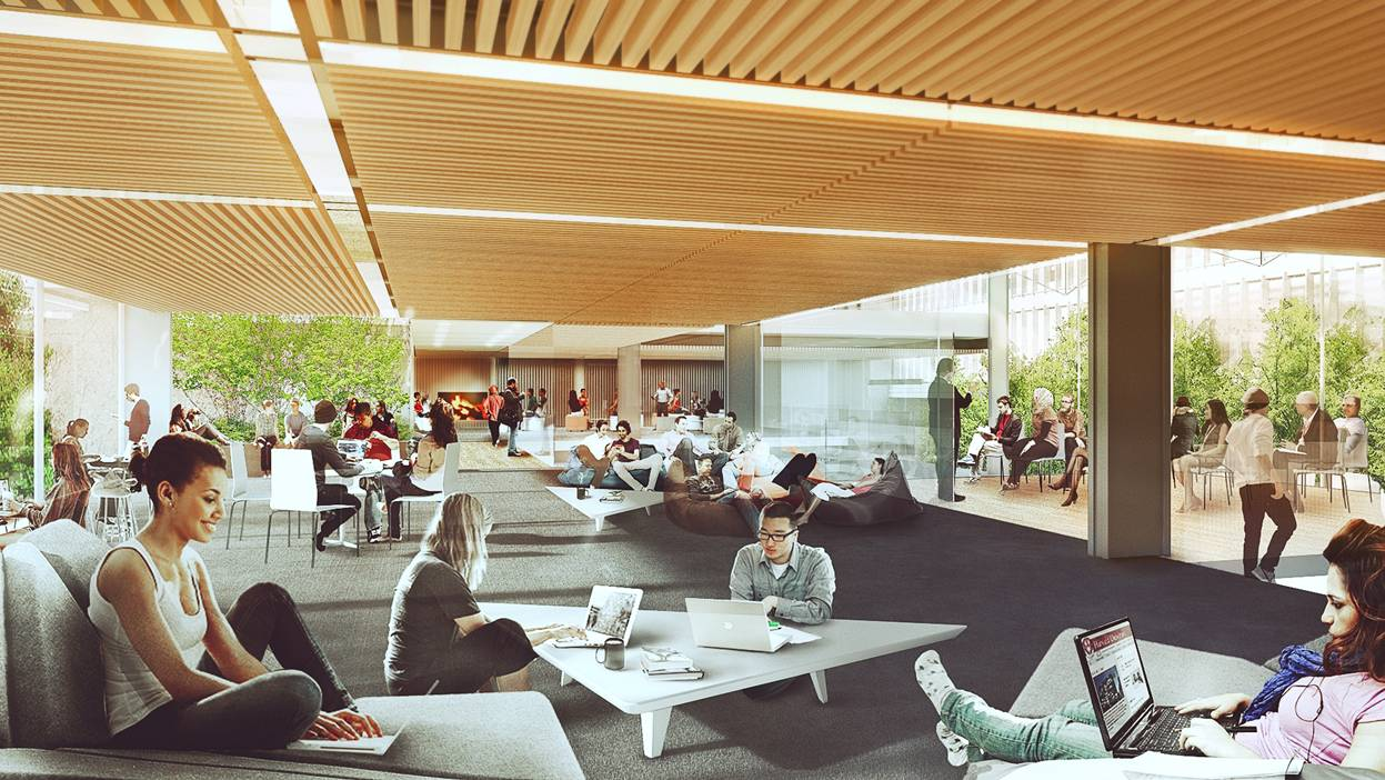 A rendering of preliminary plans for the second floor of the Smith Campus Center highlights common spaces, trees, and a fireplace.