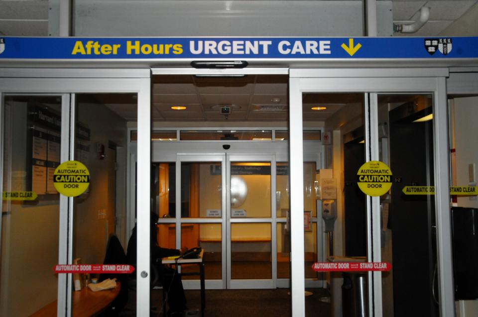 An open entrance leads into the after hours urgent care area of University Health Services. In light of recent reports of meningitis at nearby universities, Harvard administrators have been sending out emails to inform students about the disease.