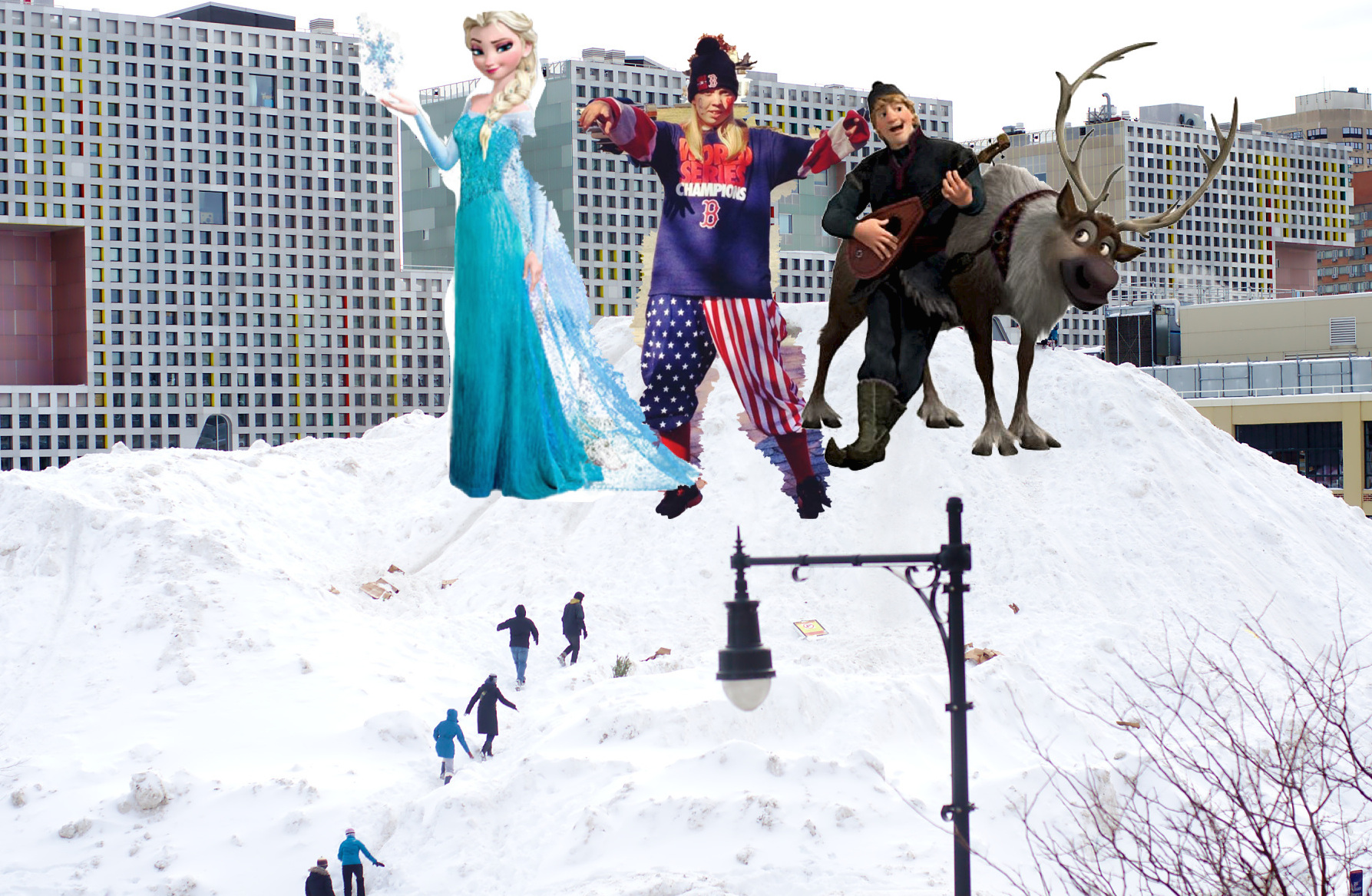 Betty, Elsa, and Kristoff claim territory on top of MIT Mountain as ant-sized, weak MIT students struggle to climb up.