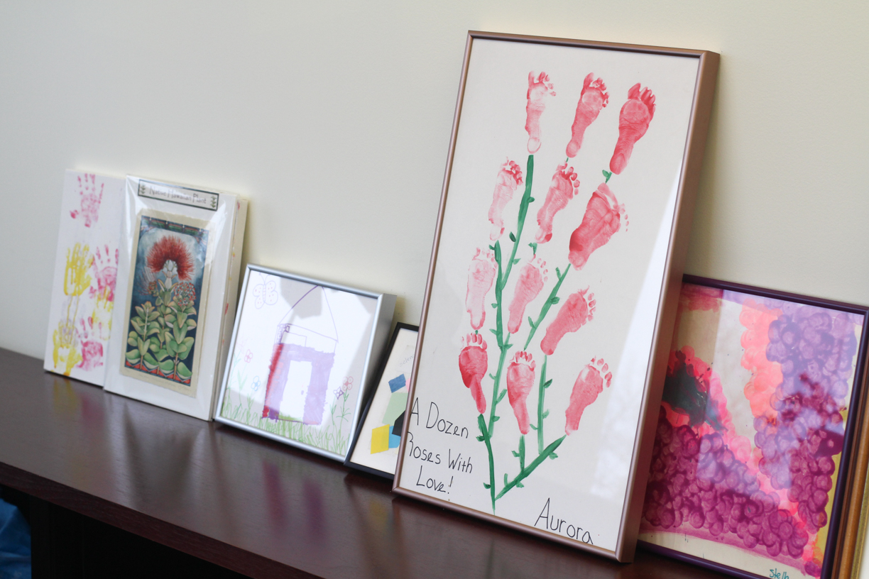 Pieces of art created by Astronomy Professor David Charbonneau's four daughters, located in his office.