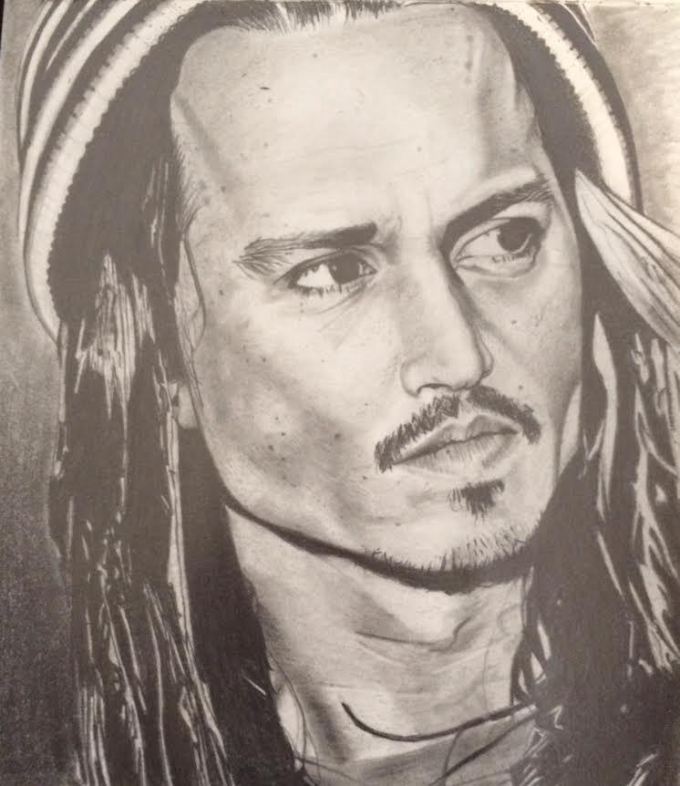 Portrait of Johnny Depp by Tyler Moy.