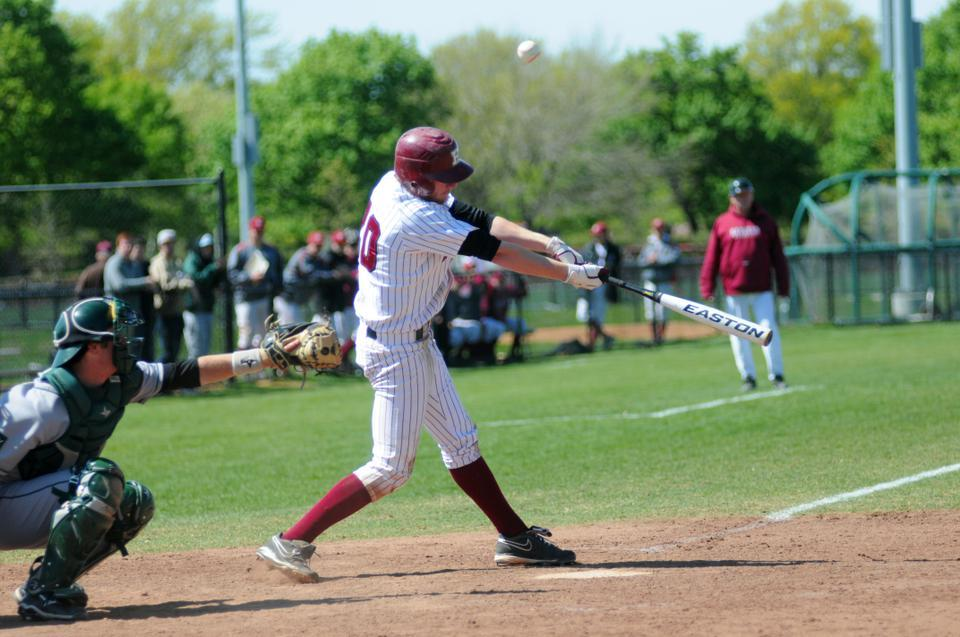 Senior Jake McGuiggan, pictured here in Apr. 2012 action, had five hits in seven at-bats in Sunday's doubleheader against Columbia.