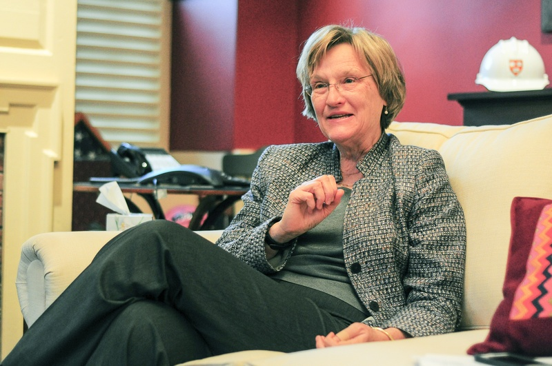 University President Drew G. Faust in her Massachusetts Hall office last year.