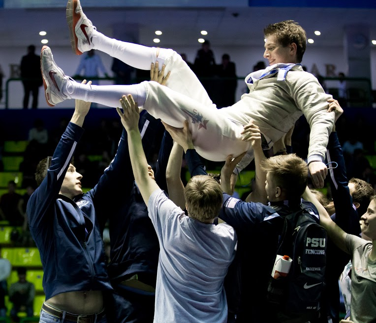 Dershwitz seen celebrating at the 2015 Junior World Championships in Tashkent, Uzbekistan, will represent the US in the men's individual sabre. The Crimson fencer is ranked 12th in the world and is the top-ranked American.