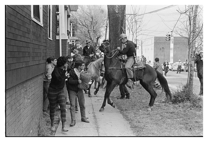 In Montgomery, Alabama, sheriffs on horseback trampled voting rights marchers near the state Capitol on March 16, 1965. Crimson photographer Glen J. Pearcy photographed the voting rights march from Selma to Montgomery in the spring of 1965.