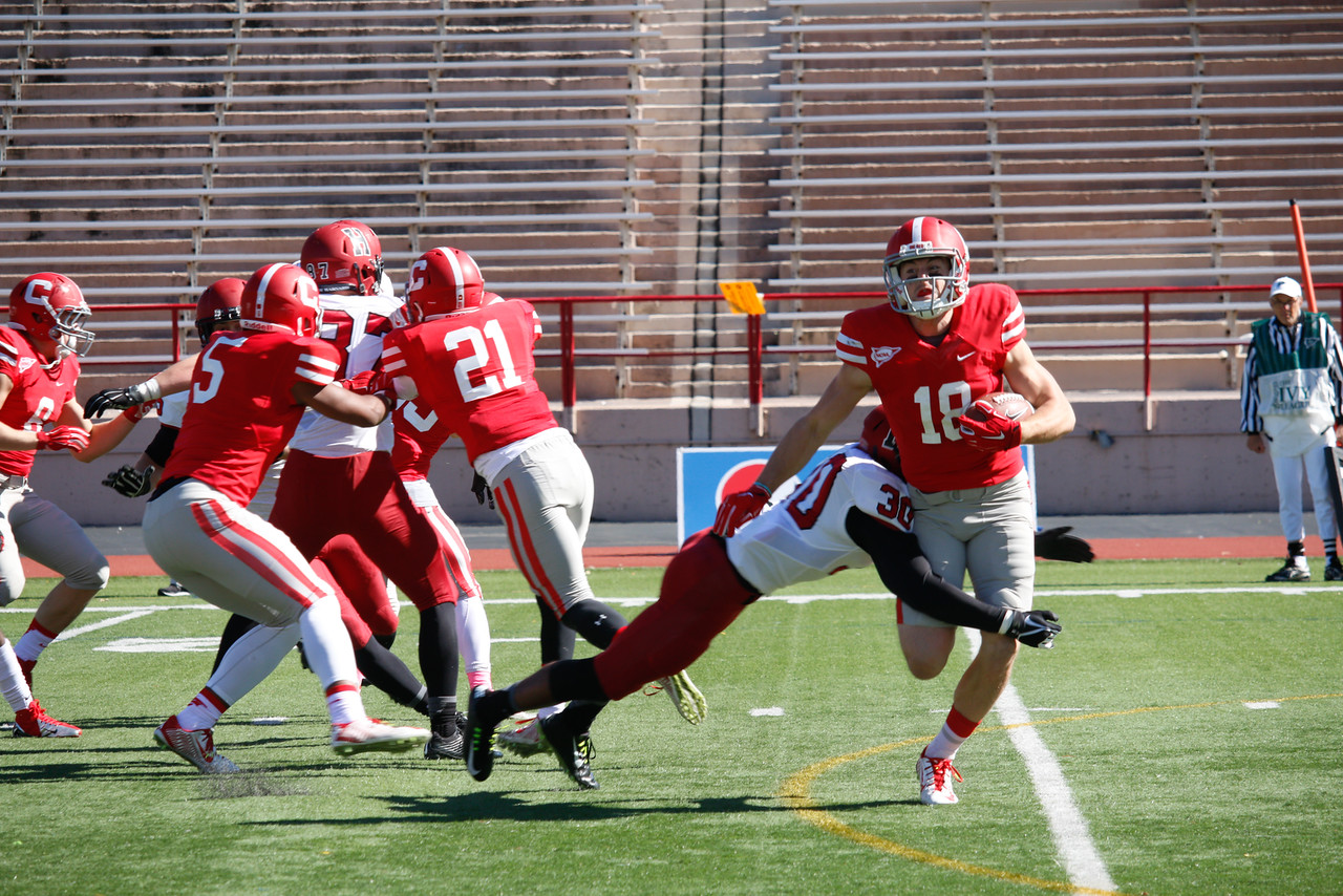 The Crimson defense, shown in previous action against Cornell on Oct. 10, 2015, held the Lafayette running game to negative 18 yards and kept the Leopard offense out of the end zone. The question is whether the defense will hold up as well against stronger Ivy competition to come.