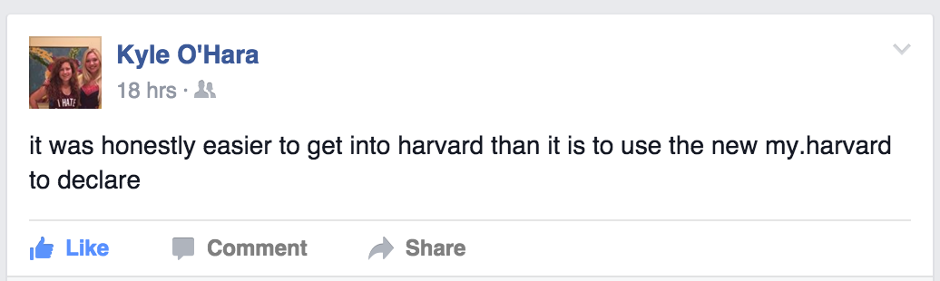 Our writer Kyle poured her my.harvard woes onto Facebook.