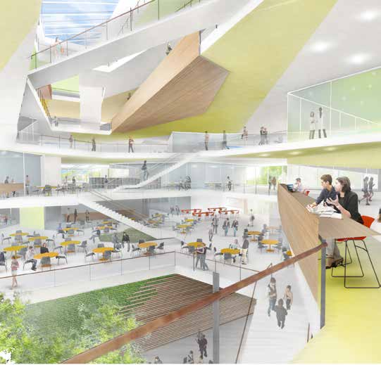 A rendering of the new School of Engineering and Applied Sciences complex's planned interior atrium, which will have access to Western Avenue.