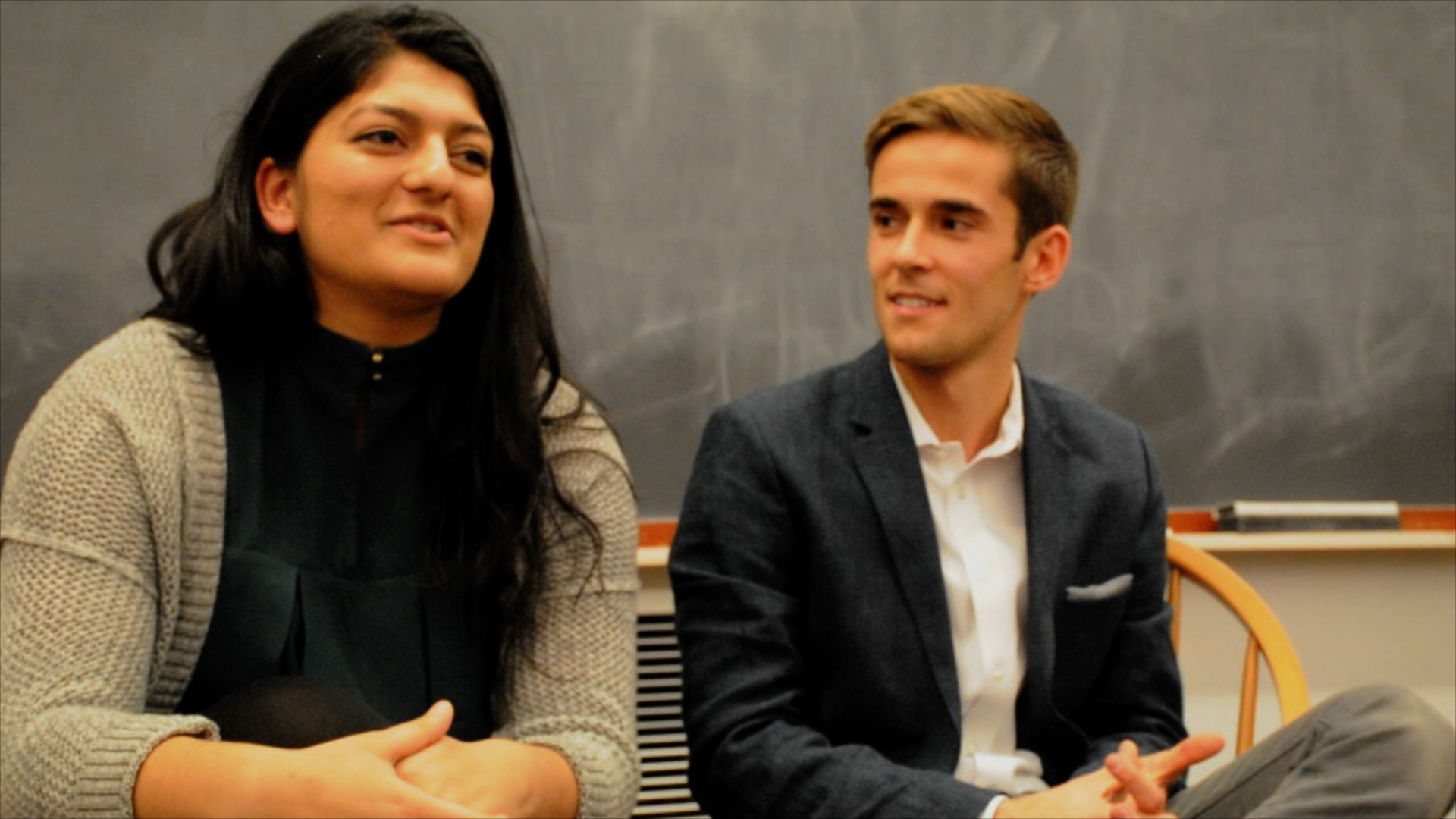Shaiba Rather '17 of Cabot House and Daniel V. Banks '17 of Dunster Houses speak at the UC-Crimson Crossfire Debate on Saturday evening.