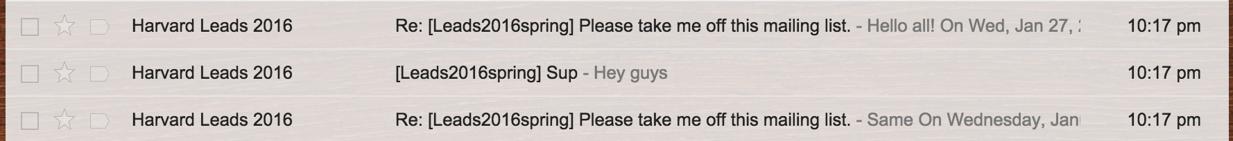 """1. Respond all with the subject line: """"Please take me off this mailing list."""""""