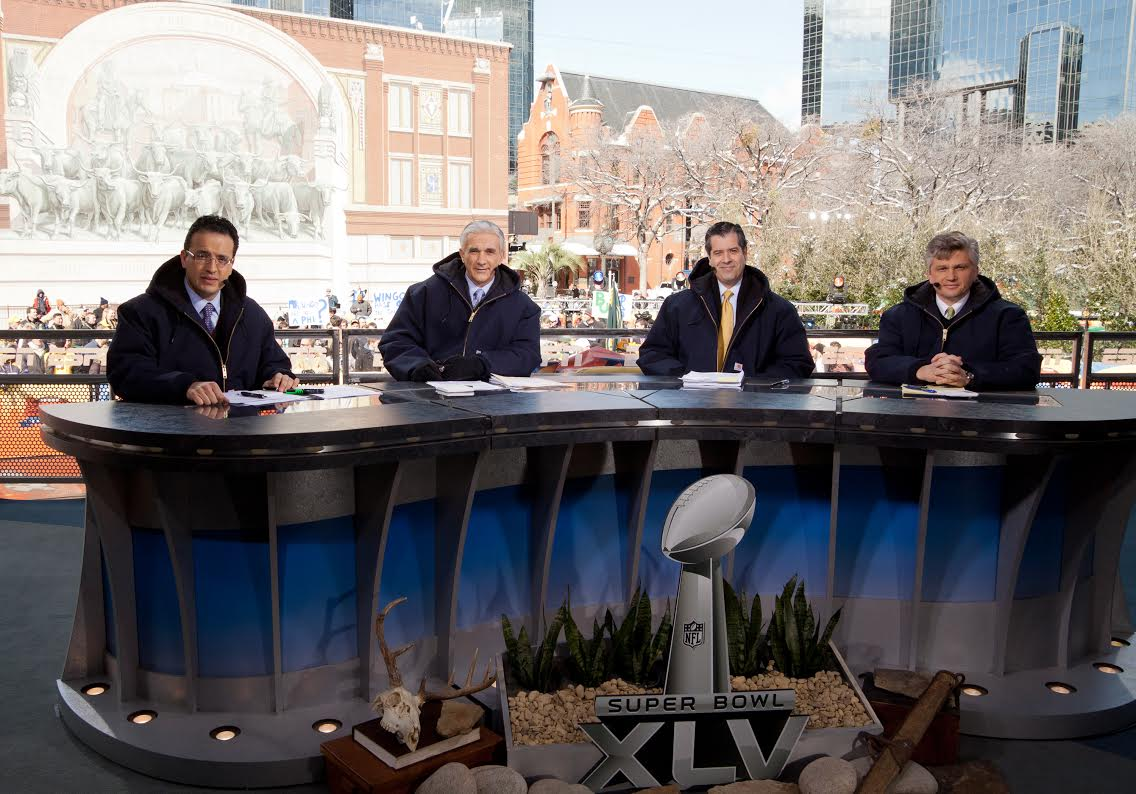 Alvaro Martin '84, pictured second from the right, will have the call of the first Spanish language Super Bowl on ESPN Deportes this Sunday.