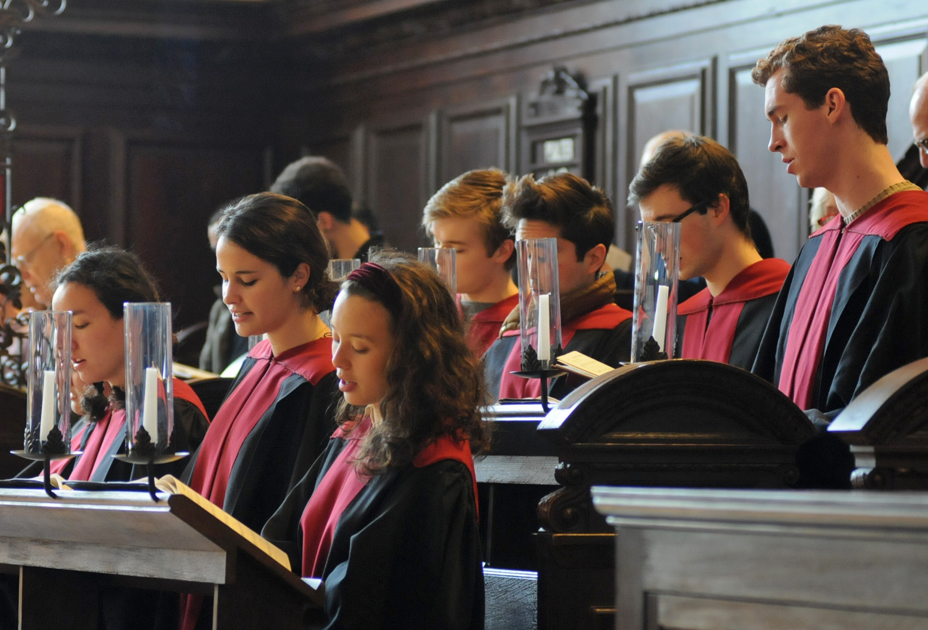 Harvard students sing hymns Monday morning before starting the special morning prayers held this week in preparation for the 3rd Annual LGBTQ Conference at Harvard.