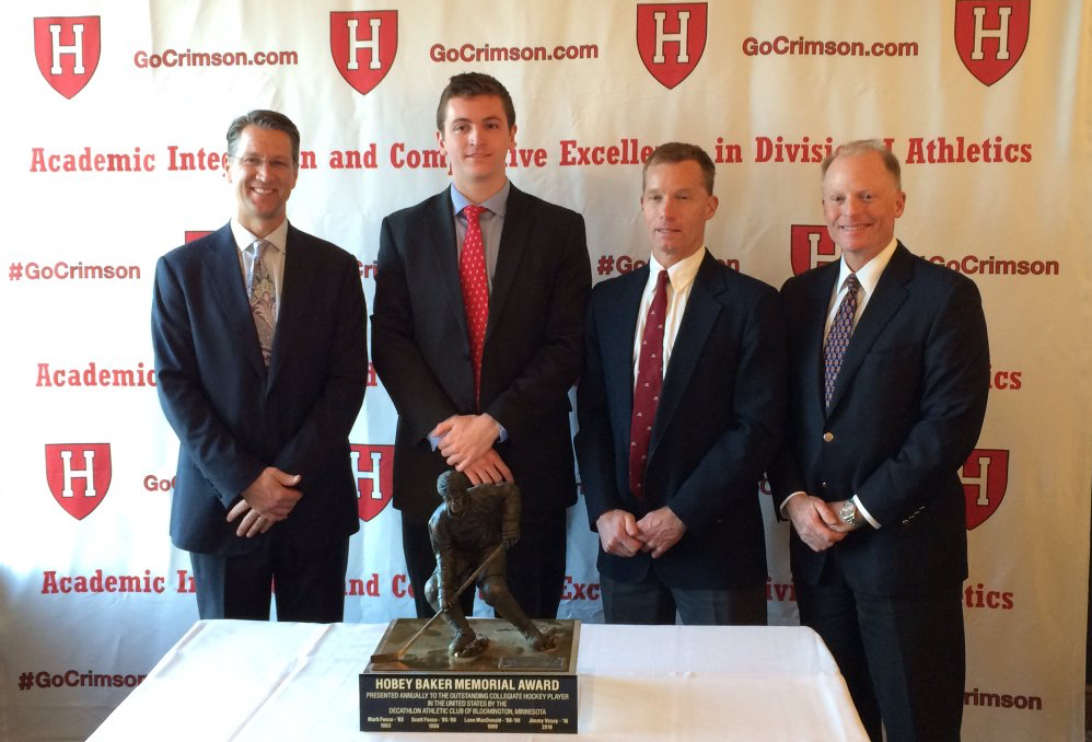May 9: After becoming Harvard's fourth Hobey Baker Award winner in program history, Vesey (second from the left) was honored alongside the Crimson's first three winners at a reception in Downtown Boston.