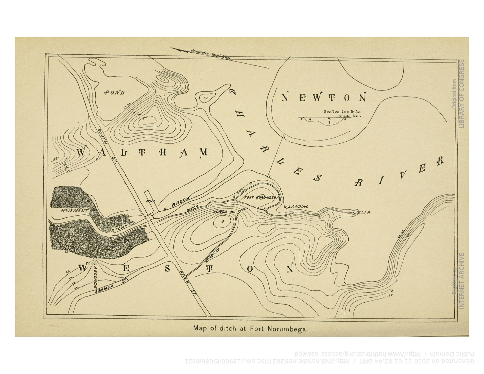 Map of Fort Norumbega and the surrounding fisheries, as imagined by Horsford, from Elizabeth Shepard's Guidebook to Norumbega and Vineland, published in 1893.