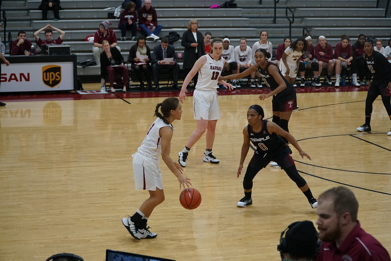 Katie Benzan, pictured above against Temple, the Crimson defeated Dartmouth 70-61.