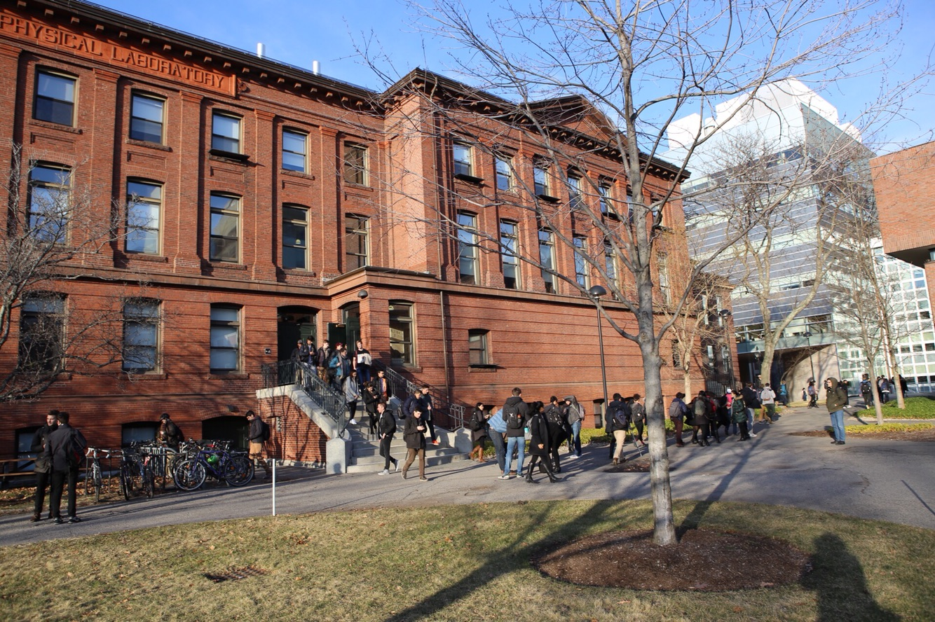 Students evacuate Jefferson Lab after an unconfirmed bomb threat on Monday afternoon.
