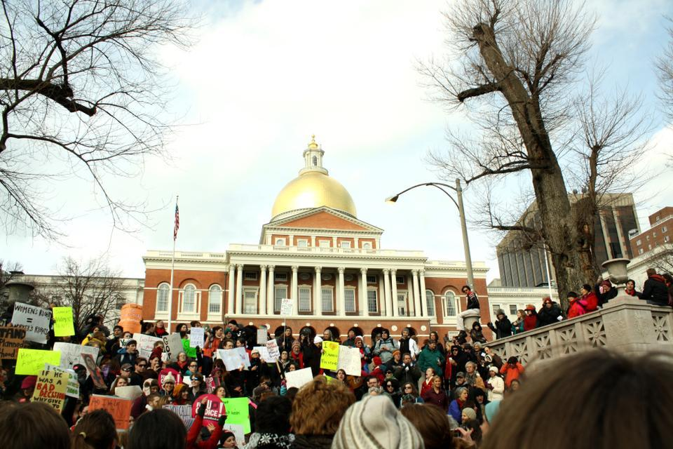 In 2006, members of the Radcliffe Union of Students joined local pro-choice activists in a walk to the Massachusetts State House to rally against Congress' slash of funding for women's health initiatives.