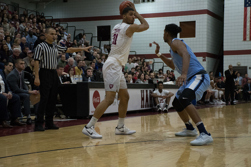 Freshman forward Seth Towns, shown in previous action against Columbia, was the leading scorer for the Crimson for the second night in a row, tallying 21 against the Big Red.