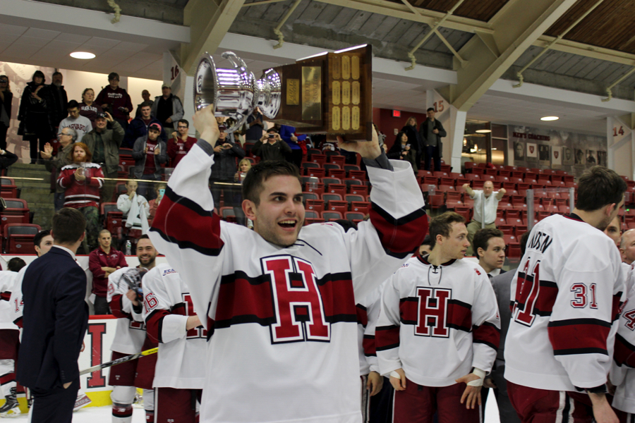 Senior blu-liner Clay Anderson gets his turn with the Cleary Cup stand-in.