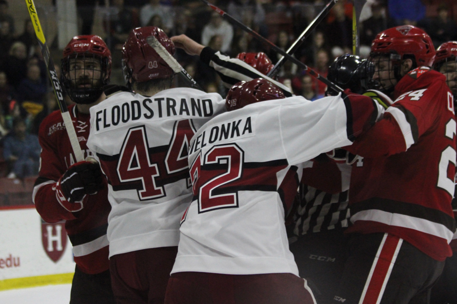 Phil Zielonka gets involved in a scrum in the regular season finale against St. Lawrence.