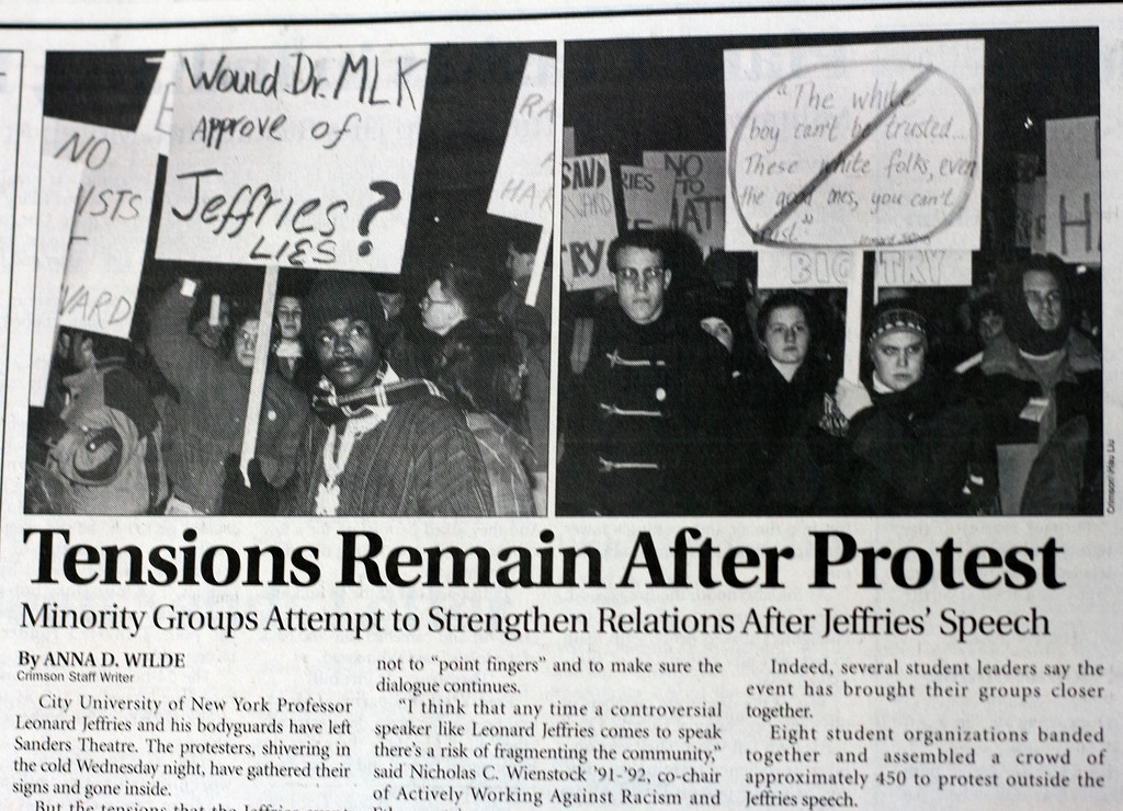 Students protest after Leonard Jeffries gives a controversial speech.