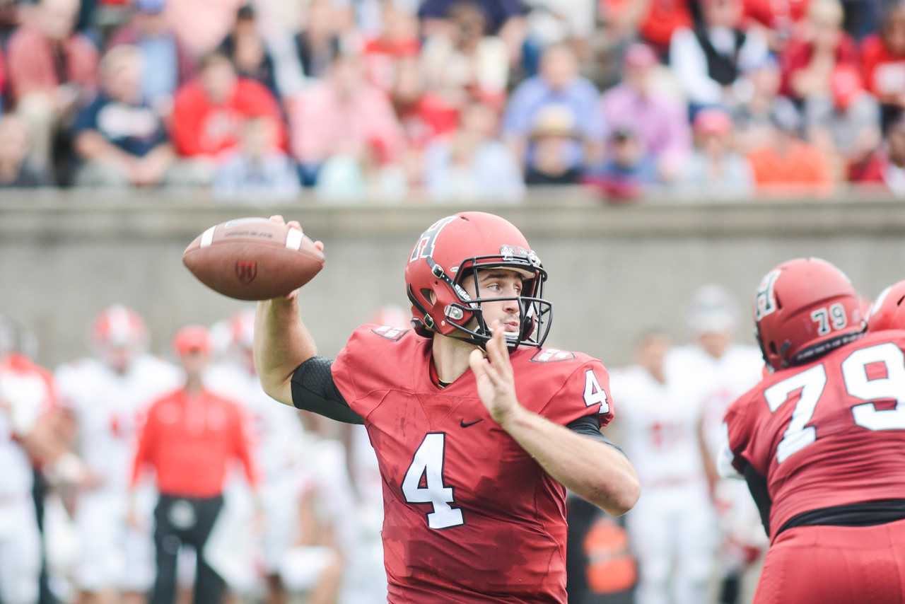 Senior Joe Viviano readies for a throw in previous action against Cornell. The quarterback is back for a fifth year in 2017.