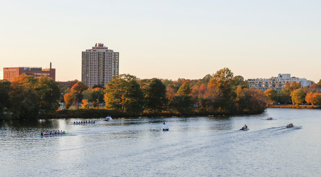 The Charles River, the scenic sight of the eponymous race. Each year, spectators line the grassy banks to cheer on their favorite boats.