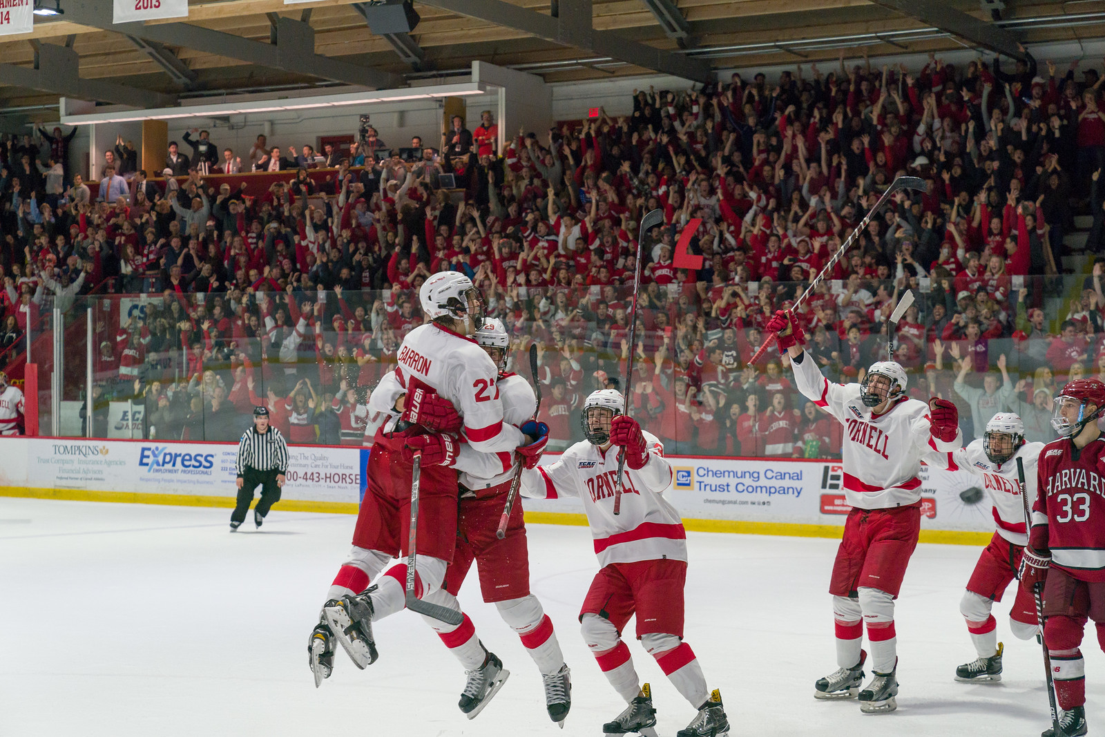 Cornell celebrates after scoring the game-winning goal with 1.4 seconds remaining in Saturday's contest. The loss, which evokes mainly frustration from the Crimson, puts Harvard under .500 for the first time since late-2013.