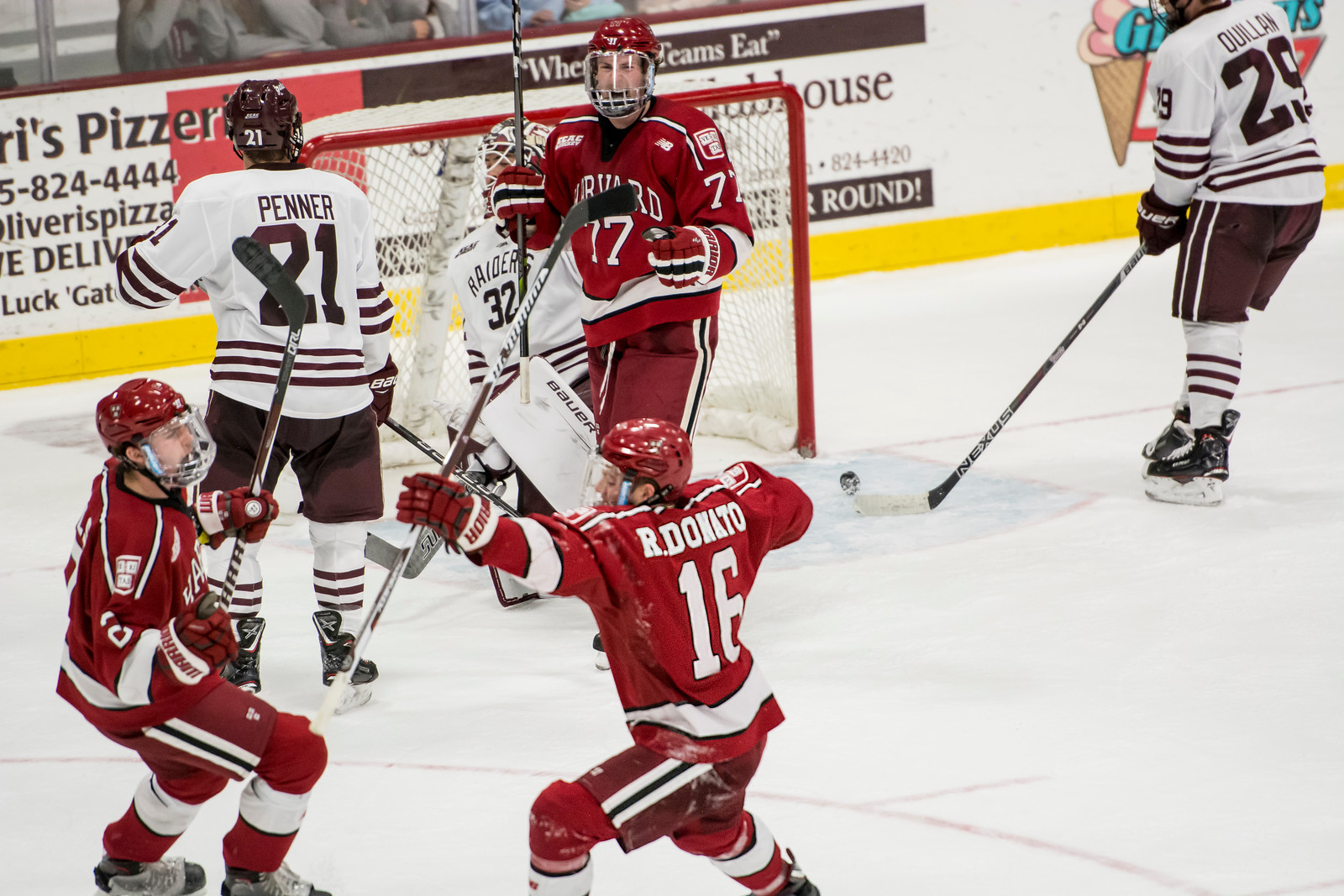 Harvard will be looking to harness more of the energy pictured above, after junior forward Ryan Donato's goal at Colgate last weekend.