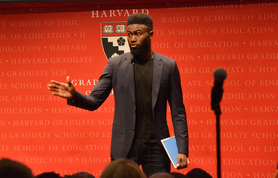 Celtics second-year wing Jaylen Brown spoke in front of a packed crowd at the Harvard Graduate School of Education on March 1.