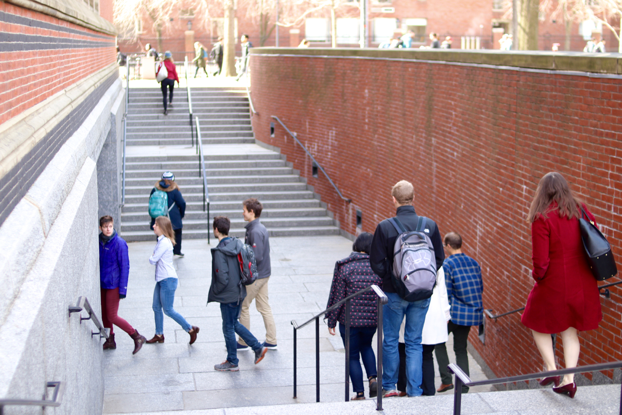 Students walking into a polling place during the student unionization election last month.