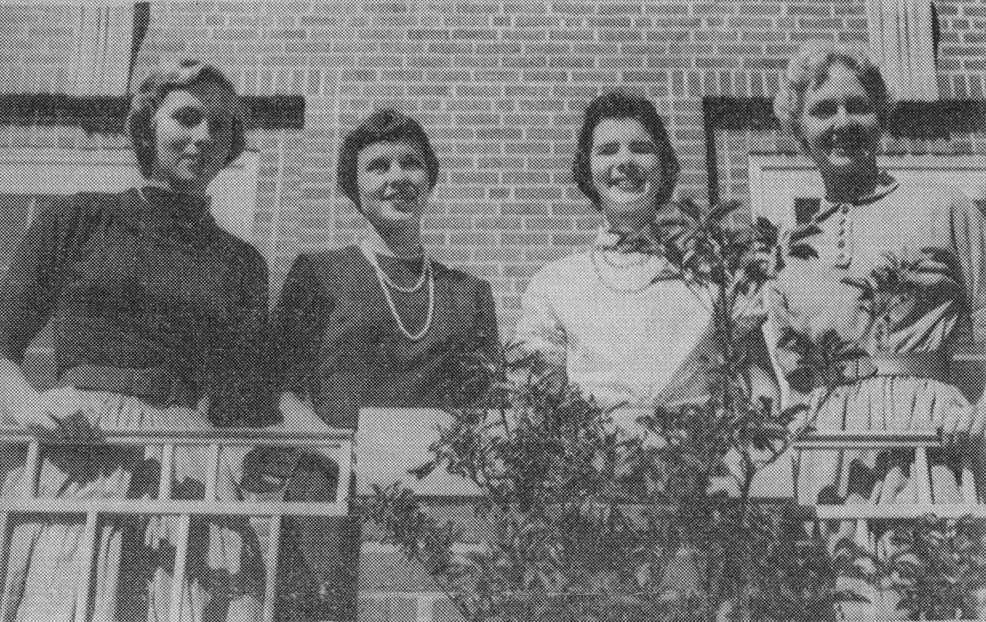 From The Radcliffe News, the 1955 Miss Radcliffe Finalists: (left to right) Ann Baker, Cynthia Charmichael, Holly Carleton (Miss Radcliffe), and Mary Lou Severn.