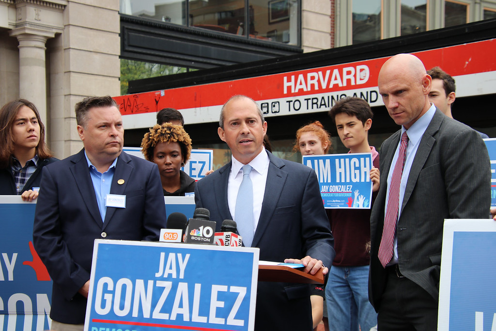 Gubernatorial Candidate Jay Gonzalez held a press conference at the Harvard T Stop to propose an endowment tax that would cost Harvard half a billion a year.