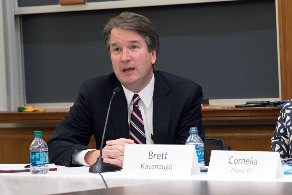Supreme Court nominee Brett M. Kavanaugh speaking at Harvard Law School's bicentennial celebration in Oct. 2017.