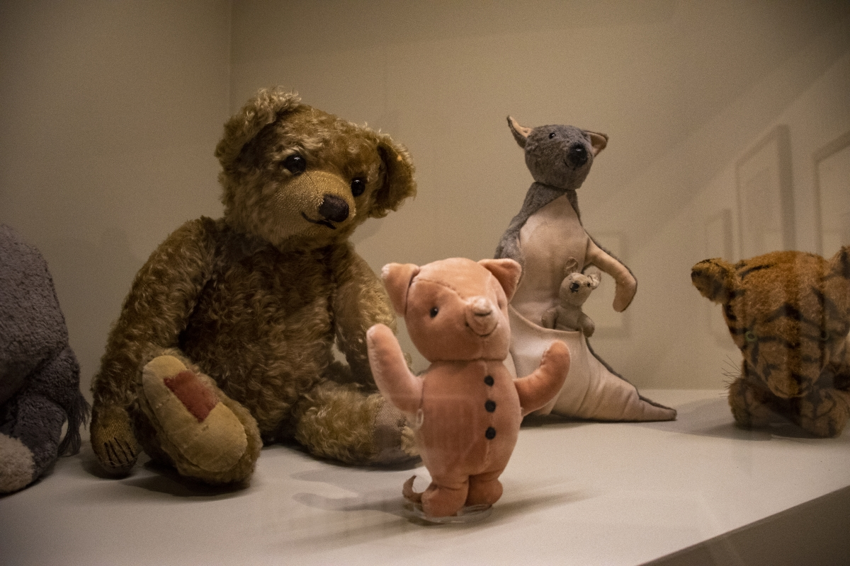Winnie-the-Pooh: Exploring a Classic, an exhibition at the MFA now through January, includes stuffed animals of some of the classic characters from the Hundred Acre Wood including Pooh Bear, Tigger and Piglet.