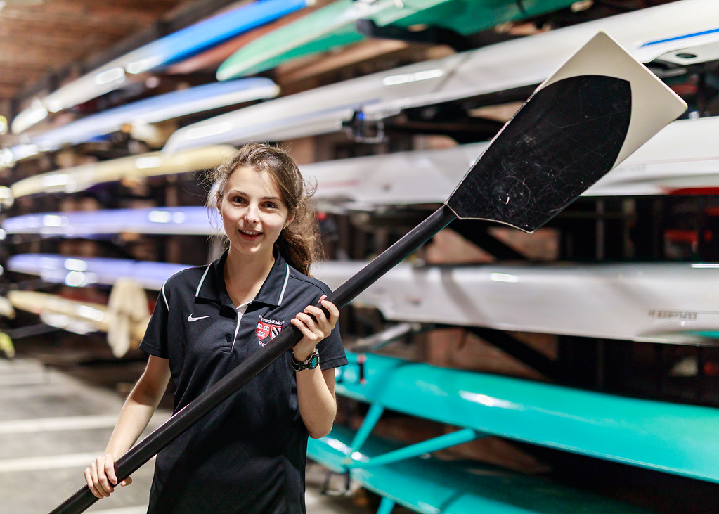 Outside of her role as a coxswain, Claire Burch conducts physics research and is interested in hydrodynamics.