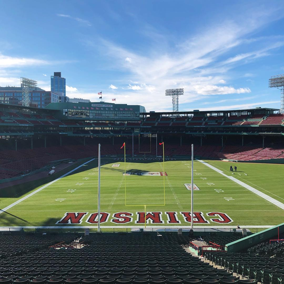 The field for this year's iteration of the Harvard-Yale football game at Fenway Park.