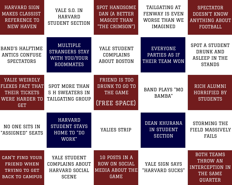 Harvard-Yale Bingo