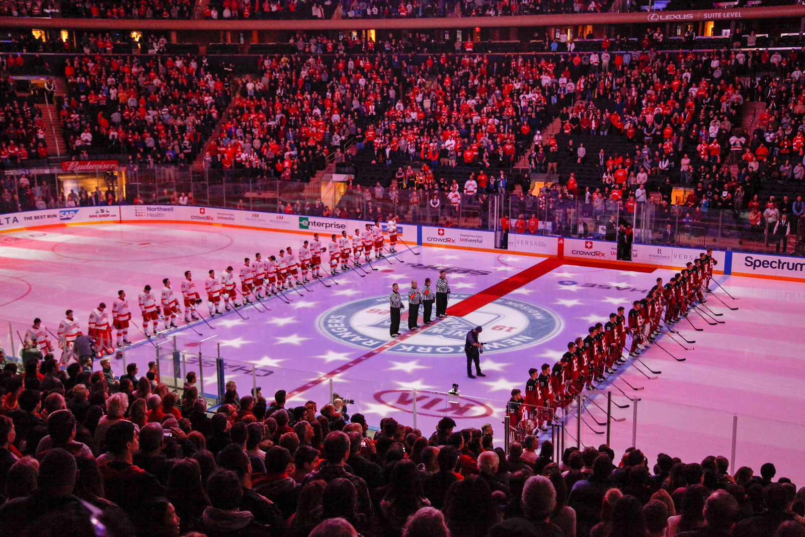 Storied rivals Harvard and Cornell met at Madison Square Garden for the first time in their 153-game history.